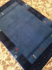 Modern Spectacular Hand Made Area Rug Blue Gabbeh  2'x3' New Nomadic Fine A+