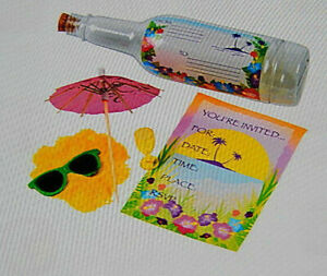 Tropical Party Invitation in a Bottle Oriental Trading Company - Bag of 12 *NEW*
