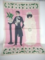 Vintage 1960s 1970s Pink Linen Tea or Dish Towel Victorian Look Bride & Groom