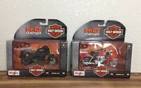 Lot of 2 Harley Davidson 1:18 Maisto Motorcycle Die Cast Toys Series 33 & 35