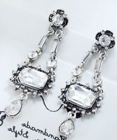 1 pair Elegant White Crystal Rhinestone  Ear Drop Dangle Stud long  Earrings 004