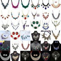 Women Fashion Bib Choker Chunk Crystal Flower Statement Necklace Wedding Jewelry
