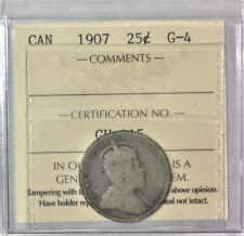 1907 Canada 25 Cents 92.5% silver, ICCS Graded G-4  # 35274