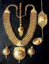 Indian Wedding 1 gm Gold Plated Rani Haar Necklace Earrings Bracelet Tikka Ring