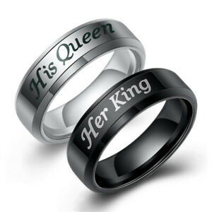 His or Hers Matching Set His Queen Her King Stainless Steel Couple Wedding Ring