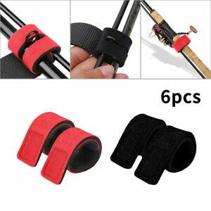 6PCS Fishing Rod Elastic Straps Belt Tie Casting Spinning  Fastener Holder Wraps