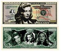 "5 Lauren Bacall Million Dollar Bill with Bonus ""Thanks a Million"" Gift Card Set"