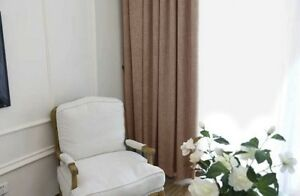 Three Layers Linen 90% Blackout Eyelet Curtains 190Cm*250CM Drop in Chocalate