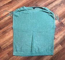 LAFAYETTE 148 Cap Sleeve Straight Neck Top Shirt Green Cinched Linen Sz M