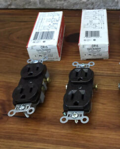 Lot Of 2 Pass & Seymour CR15 Duplex Receptacle Outlet Brown 15A 125V