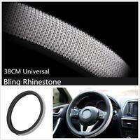 Black PU Leather W/ Cool Bling Rhinestone Crystal Car Steering Wheel Cover 38CM