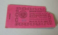 1940 West Virginia High School Basketball Tournament Ticket Book with 3/15 Stub