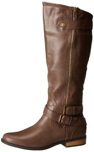 Women/'s Size 7 1//2 M Brown Rampage Istas Knee High Boots