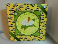 Beau Rivage Luncheon Plates (4) Flower Butterfly Yellow Center Floral Green Rim
