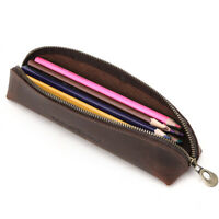 Handmade Cowhide Leather Vintage Pen Zipper Pencil Case Stationery Storage Bag