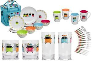 Assortment Of VW Style Camper Smiles Caravan Motorhome Camping Glasses Mugs Etc