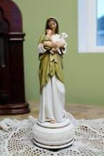 Mary Statue Holy Innocence Madonna Music Box 9.5 inch Baby Jesus and Lamb