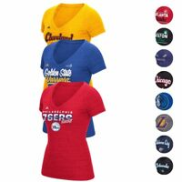 NBA Adidas Various Team Graphic Logo Premium Tri-blend V-Neck T-Shirt Women's