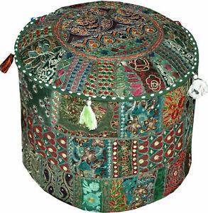 Indian Pouffe Floor Ottoman Pouffe Throw Pillow Cover 100% Cotton Ethnic