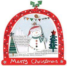 Caja de 5 Tarjetas de Navidad Muñeco de nieve en forma de snowglobe acabados a mano segunda naturaleza
