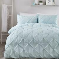 Duck Egg Duvet Covers Ruched Pin-Tuck Stitch Plain Blue Quilt Cover Bedding Sets