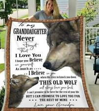Wolf To My Granddaughter Never Forget I Love You Your Grandpa Fleece Blanket