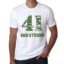 41 And Strong Hombre Camiseta Blanco Regalo De Cumpleaños 00474