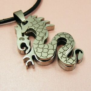 316L STAINLESS STEEL Race DARGON Pendant + Leather Cord or BALL Chain NECKLACE~