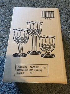 Home Interiors & Gifts 3 PC Stemmed Glass Candle Holder Set 1122 - BD NICE