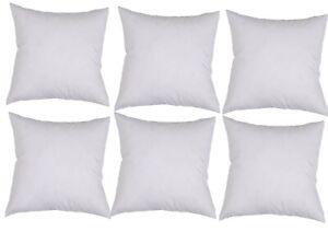6 Australian Made Cushion Pillow Inserts 40 x 40 cm White Hypoallergenic Fibre