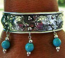 Native American Bracelet Turquoise Stones Silver Beads Turtle Island Cherokee