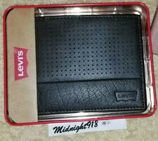 NEW LEVI'S ID PASSCASE BLACK LEATHER MENS WALLET.