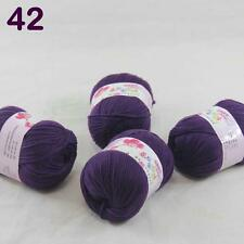 4balls  50g Cashmere Silk Wool Children hand knitting Baby Yarn Aubergine 18_42