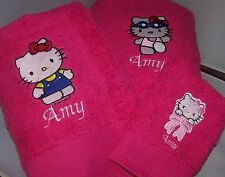"""PERSONALIZED EMBROIDERED HELLO KITTY 3 TOWEL SET"""
