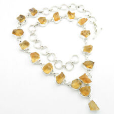 925 Solid Sterling Silver Real CITRINE Necklace 18.3 Inches ROUGH Stone Jewelry