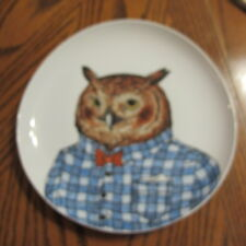 West Elm Rachel Kozlowski Plate Dapper Animal Owl Blue Shirt