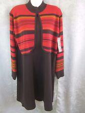 Liz Claiborne Sweater Dress Size Large NWT Striped Faux LayerMock Turtleneck NEW