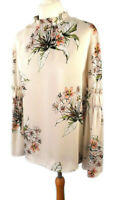 M&S Size 8 10 Cream Floral Silky Blouse Top Flared Sleeve High Neck Modest