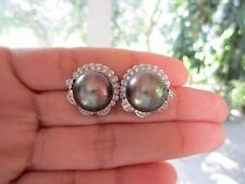 5.86 Carat Diamond White Gold Earrings with Pearl 14k sepvergara