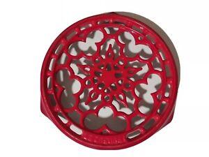 """Le Creuset 9"""" Round Cerise Color Cast Iron Trivet"""