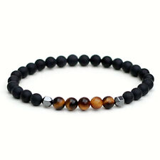 Tigers Eye Bracelet With Frosted Black Onyx and Hematite Custom Fit
