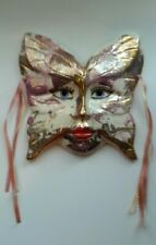 Ceramic Face Mask Wall Hanging Butterfly Shape Pink Gold
