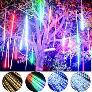 Solar LED Meteor Shower Falling Star Rain Drop Icicle Snow Fall Lights Xmas Lamp