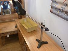 VINTAGE LOOKING AGED INDUSTRIAL ADJUSTABLE DESK LAMP 240 VOLT PLUG FITTED