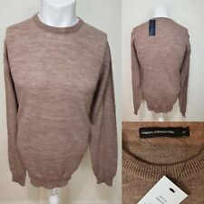 French Connection Men's Light Brown Crew Neck Wool Jumper Sweater Size M NEW