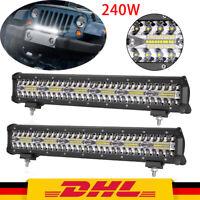 2X 20Zoll 420W LED Arbeitsscheinwerfer Scheinwerfer Offroad SUV Lichtleiste IP68