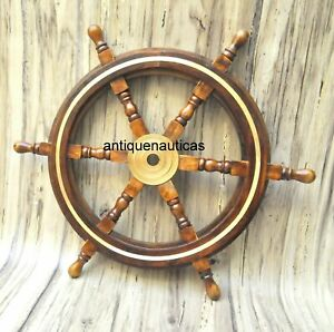 """24""""Brass Wooden Nautical Ship Steering Wheel Pirate Décor Wood Fishing Wall Boat"""