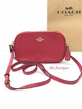 NWT New Coach F30259 Double Zip Crossbody Pouch Purse Bag Leather True Red $175