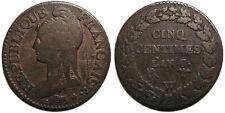 Directoire, 5 centimes L'An 8/5 W, Lille, 8 sur 5