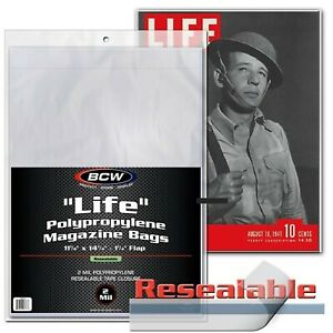 12 Life Magazine Bags Large Size Archival Protector Resealable Sleeves BCW New